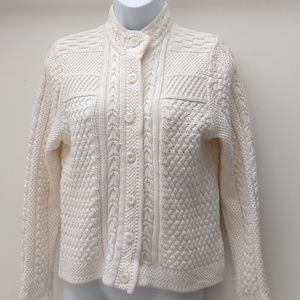 L.L. Bean Women's Cardigan 100% Cotton Ivory Sz S